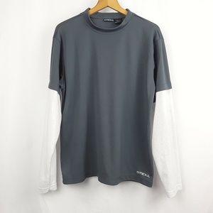 O'Neill Long Sleeve Gray and White Shirt